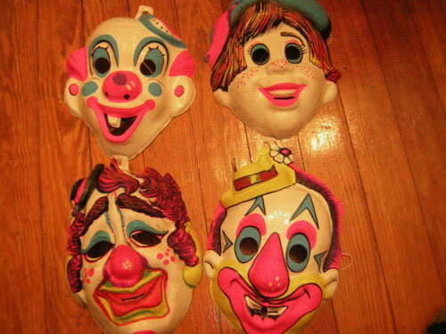 CLOWN MASK SET OF 4 VINTAGE EARLY  70