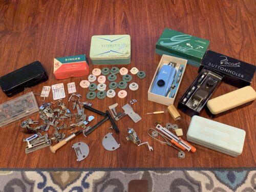 Huge Vintage Sewing Attachment Lot. Singer Necchi Greist Buttonholers Bobinbox - $69.95