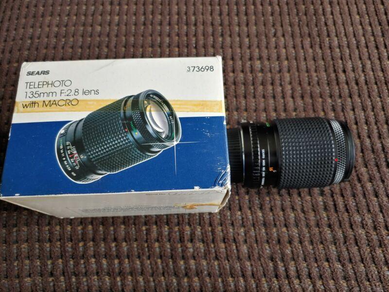 Sears 135mm F/2.8 Lens With Macro Nikon N Mount With Box Vintage SLR
