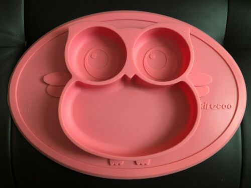 Pink Baby Owl Plate Self- Feeding, Build in NonSlip Plate / Bowl