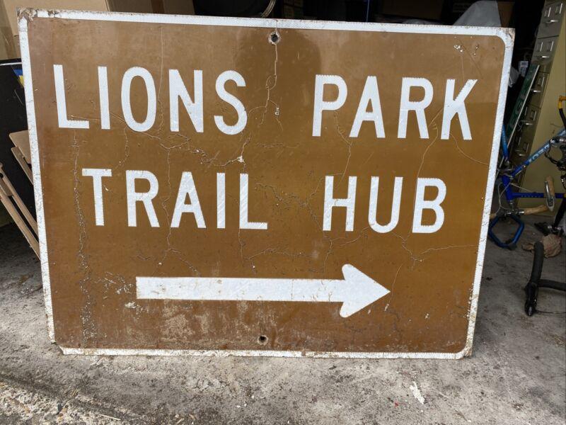 Large LIONS PARK TRAIL HUB Moab Utah National Park Sign