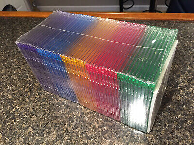 Slimline Cd Dvd Cases - 50 Pack Multi Color - New