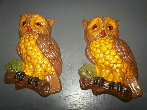 vtg 1970s Pair Ceramic Owls Wall Hanging Retro Hand Painted 70s hippie decor mod