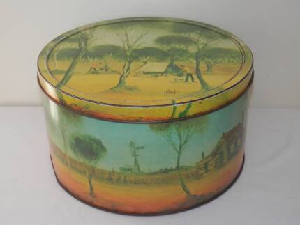 """Arnott's Pro Hart """"The Hut"""" 1975 Collectors Outback Biscuit Tin Fisher Weston Creek Preview"""