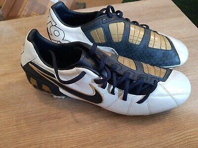 Nike T90 football boots white black gold uk 8 eu 42.5