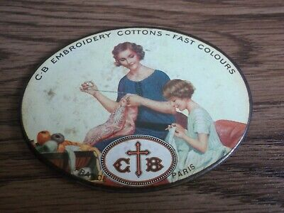 """Rare vintage """"C. B"""" Embroidery Cottons advertising pocket mirror made in France."""