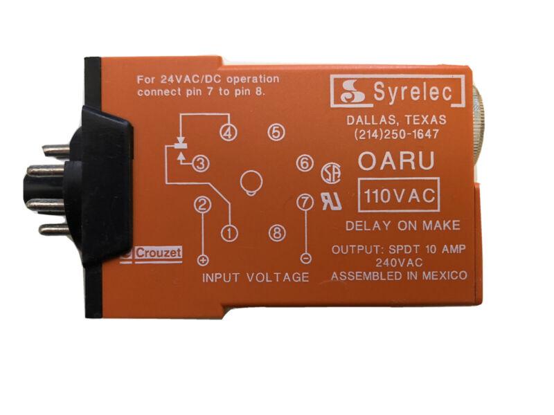 OARU 110A Crouzet time delay relay 120 volt 8 pin