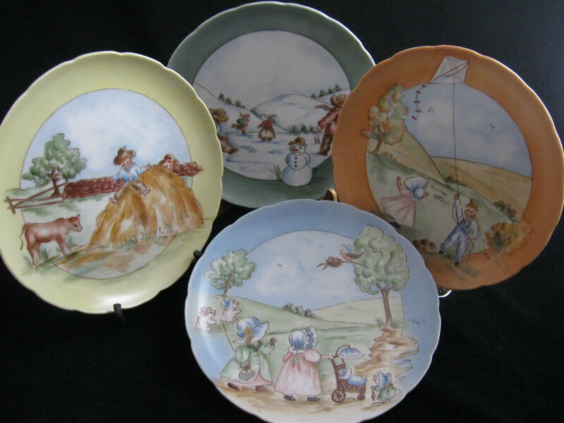 Set of 4 Hand Painted Vintage Americana Plates Signed Unknown Artist 8""