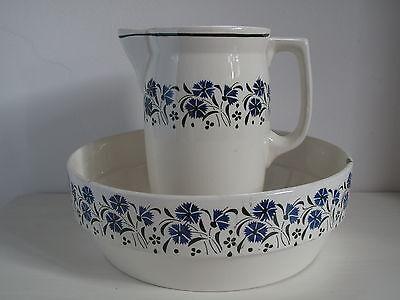Alter Waschkrug + Waschschale Jugendstil blau Blumen Shabby Landhaus Wasserkrug