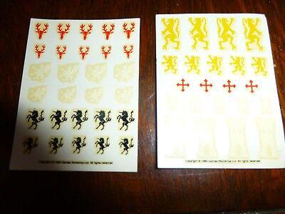 Games Workshop Warhammer Fantasy Knights Transfer Sheet Shield Decals, 2 sheets