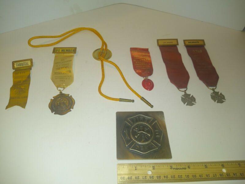 Vintage  Firemans Convention Ribbon Badge Lot: N.J. New Jersey metal plaque mark