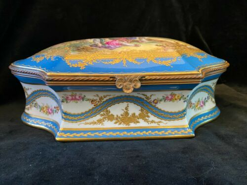 Large Antique French Sevres Style porcelain & bronze box