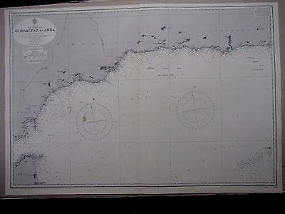 "1969 GIBRALTAR to ADRA - SPAIN SE COAST Admiralty Sea Map Chart 28"" x 41"" B14"