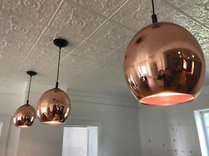 Stunning copper chandeliers (8 in total)