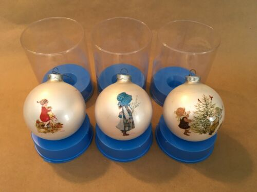 3 1974 Corning Glass HOLLY HOBBIE Christmas Ornaments