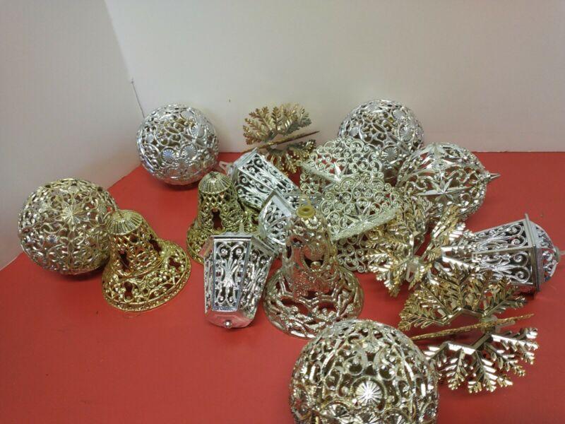 Vintage Christmas Plastic Filagree Ornaments 17pcs