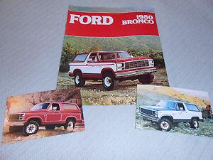 1980 FORD BRONCO SALES BROCHURE / CATALOG plus 2 ORIGINAL 80 BRONCO POSTCARDS