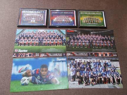 SYDNEY ROOSTERS RUGBY LEAGUE  LOT RLW POSTERS & FRAMES B FITTLER