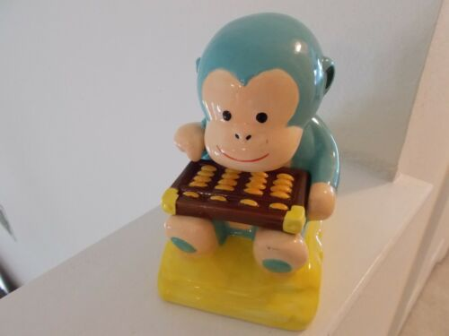 Blue Monkey with Abacus; Wells Fargo Ceramic Coin Bank