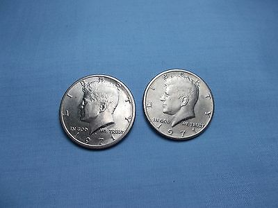1971-D AND 1971 KENNEDY HALF DOLLARS  COMPOSITION IS COPPER-NICKEL CLAD