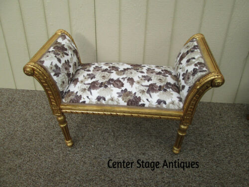 58074 Decorator Gold Louis XV Window Bench Stool