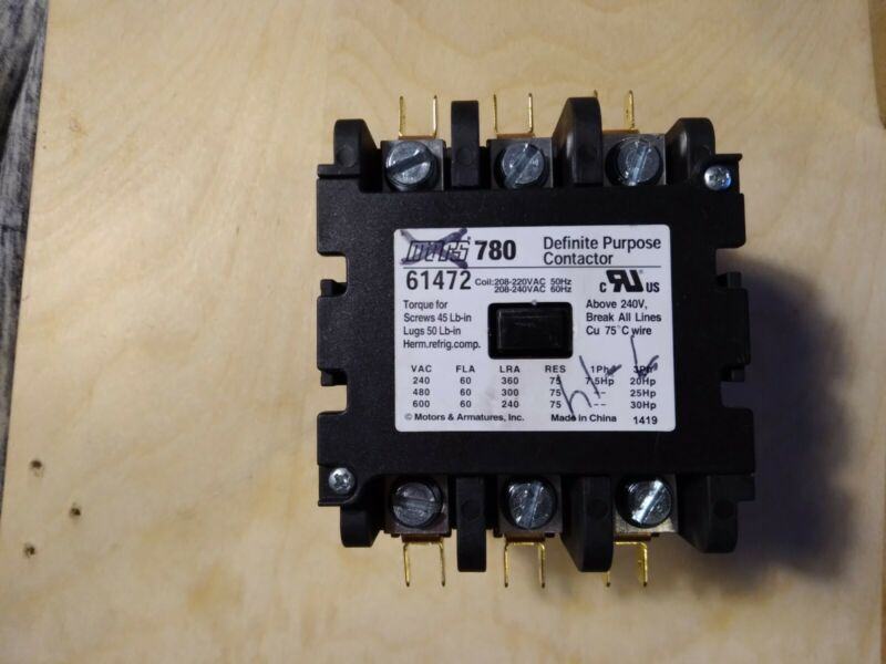 MARS 780 DEFINITE PURPOSE CONTACTOR 61472 3 pole 60 amps replaces Furnas42EF35AG