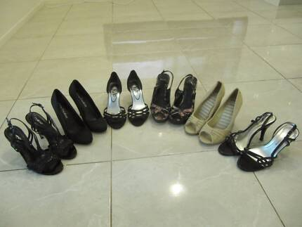 6 pairs of Womens size 7 high heels - including brand new ones!