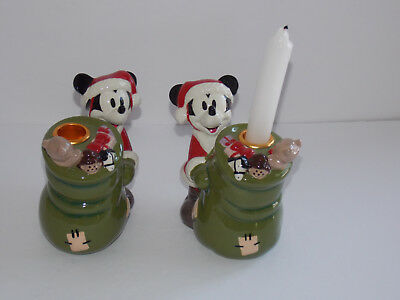 MICKEY MOUSE Xmas Candle Holders - Disney - Set of Two