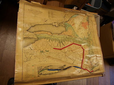 RARE 1895 MAP, NY ECONOMIC,GEOLOGICAL MINERAL DEPOSIT LITHOGRAPH BY JULIUS BIEN.
