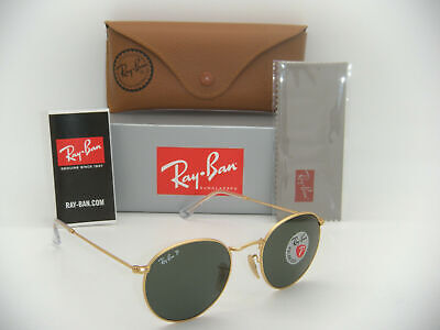 Authentic Ray-Ban RB 3447 112/58 50mm Round Metal Matte Gold / Green Polarized (Rb3447 Matte Gold)