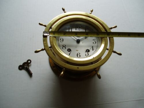 SETH THOMAS 8 DAY SHIPS WALL CLOCK & KEY 7 Jeweled Brass Wheel Not Working 0 S/H