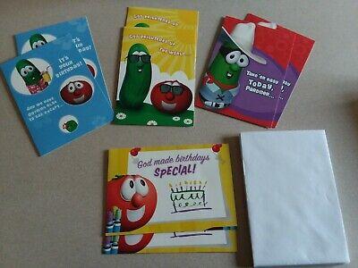 8 Dayspring VeggieTales Birthday Cards and Envelopes w/Box (Dayspring Birthday Cards)