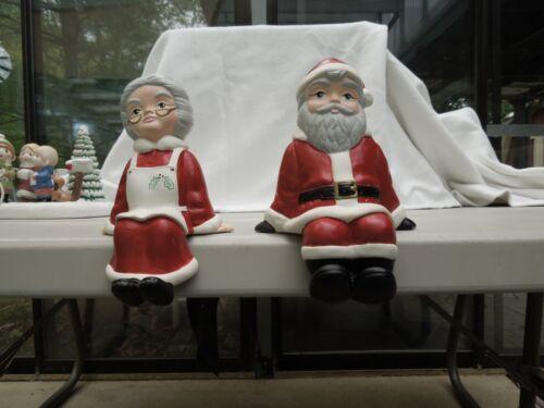 Vintage Santa  Mrs Claus  Figures Ceramic Christmas Shelf