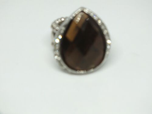 Beautiful Silver Tone Stretch Cocktail Ring Clear Amber Rhinestones Signed CN