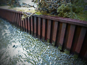 LASER CUT CANAL PILING DOCKSIDE QUAYSIDE OO SCALE 1:76 MODEL RAILWAY - LX107-OO