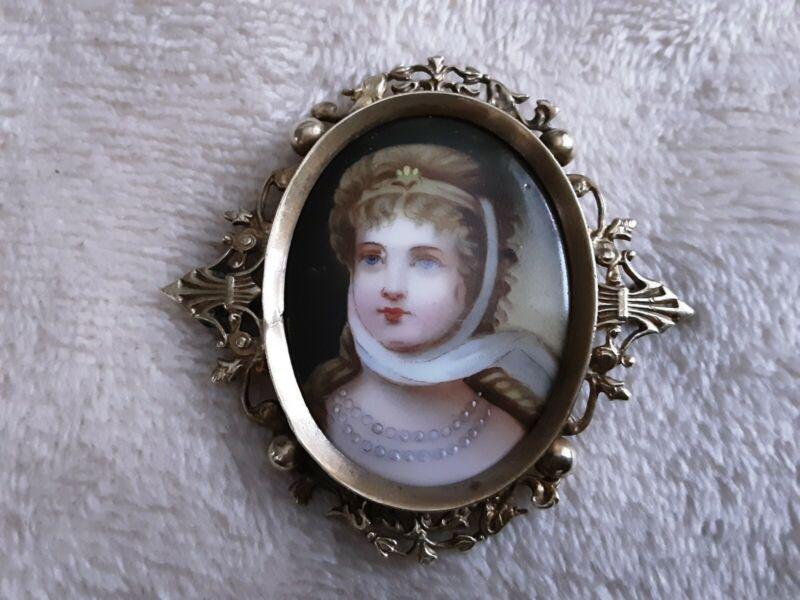 """Fabulous Antique Porcelain Portrait Brooch 2 1/2"""""""