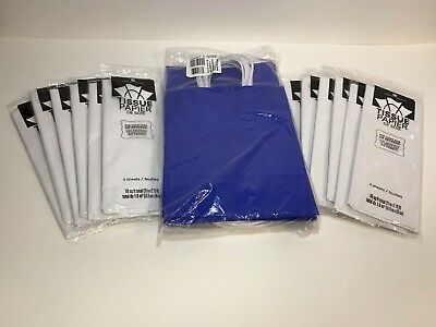 Royal Blue Gift Bags With Handles And White Tissue Paper 12 Count