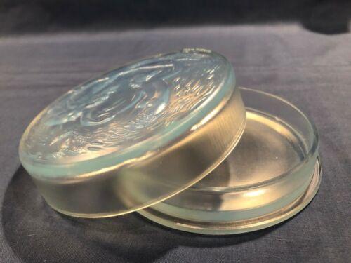 "SABINO OPALESCENT ART GLASS - BOUDOIR TRINKET BOX - MERMAIDS - #173B - 4 5/8"""
