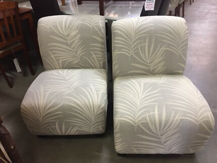 ARMLESS LOUNGE CHAIRS WITH TROPICAL LEAF PATTERN - $229 EACH