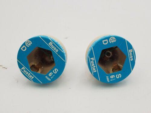 2 Piece Buss Fustat Type S Edison Base Time Delay Fuse Plug 6-1/4 AMP  NEW