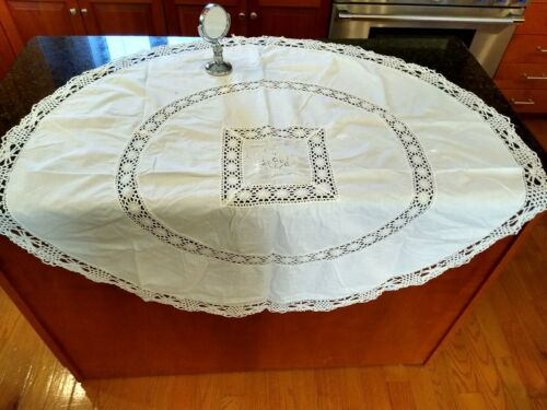 ANTIQUE HANDMADE LACE ROUND WHITE COTTON TABLECLOTH~EMBROIDERED CENTER~46X43.75""
