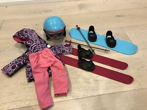 Doll ski/snowboarding set
