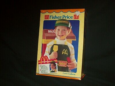 Vintage Fisher Price McDonald's Crew Uniform New in Box Sealed bag Apron Visor