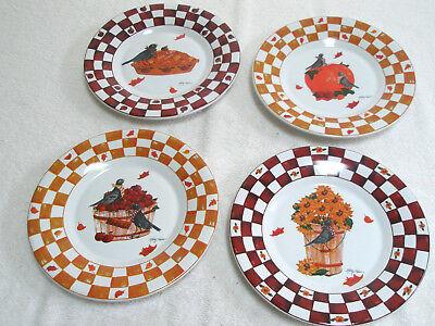 Set 4 KATHY HATCH Vintage Dessert Plates Autumn Blackbirds Apples Pumpkin Pie - Halloween Apple Desserts