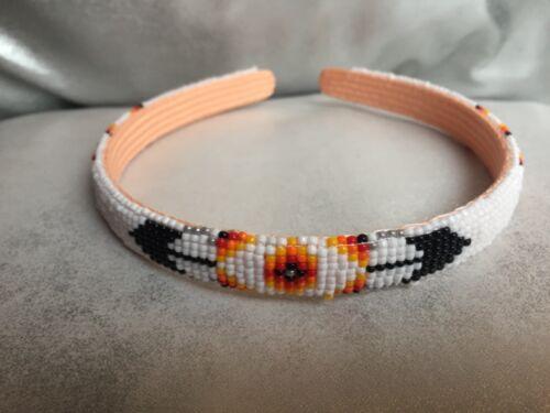 Native American White Beaded Headband