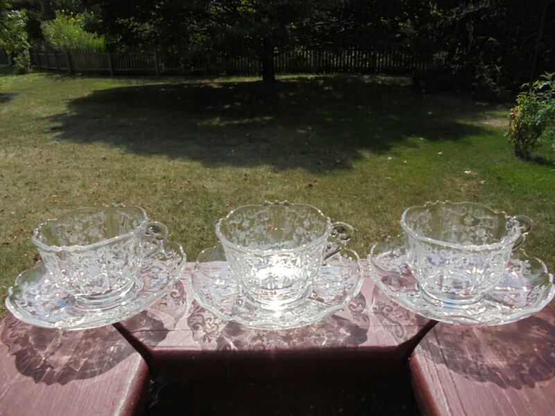 3 Vintage Cambridge Glass Chantilly Etch Cup & Saucer Sets (6 Pcs) Excellent
