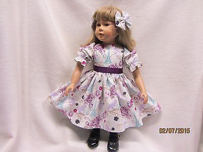 """POSTCARDS FROM PARIS dress & 2 matching bow barrettes fits 23"""" My Twinn doll"""