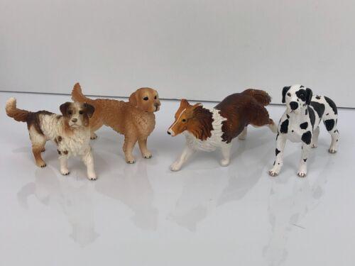 Schleich Lot of 4 Dogs ~ Collie, Great Dane, Golden, Farm Dog