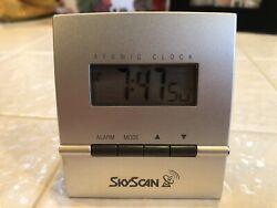 SKYSCAN Digital Atomic Desk Wall Clock w/Temperature & Calendar - Silver & Black
