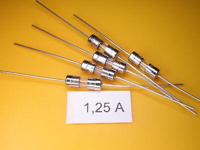 5 Stück -  Picofuse Sicherung , 1,25A 250V axial ,Schnell/Fast, 3,6 x 10mm